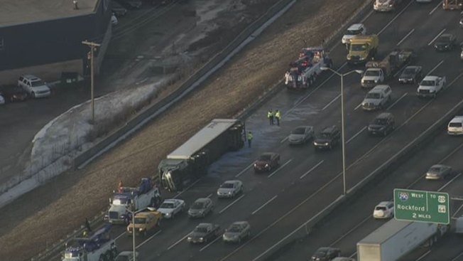 Overturned Semi Slows Traffic on Tri-State Tollway
