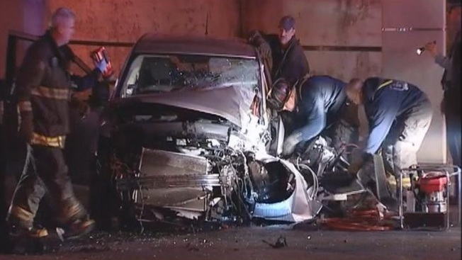3 Hospitalized When Car Slams Into Viaduct Pillar