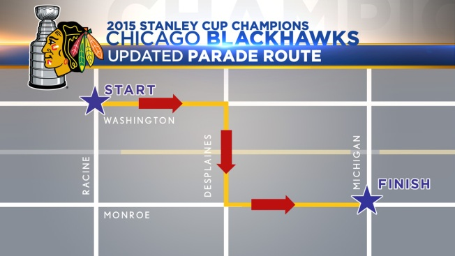 Blackhawks Stanley Cup Parade Route in Chicago
