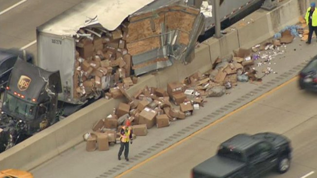 UPS Truck Spills Packages on Interstate