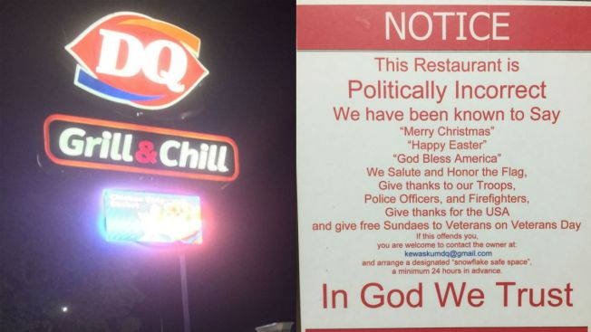 Wisconsin Dairy Queen Hangs 'Politically Incorrect' Sign in Window
