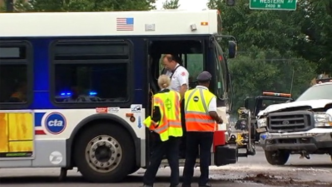 CTA Bus And Truck Collide, Nine Injured
