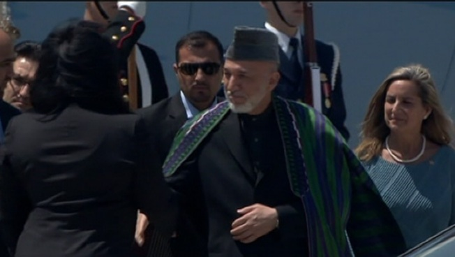 Afghan President Hamid Karzai Arrives in Chicago