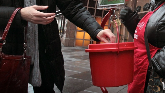 Gold Swiss Francs Dropped in Salvation Army Kettle
