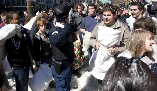 Chicago Cops Bust Up Pillow Fight