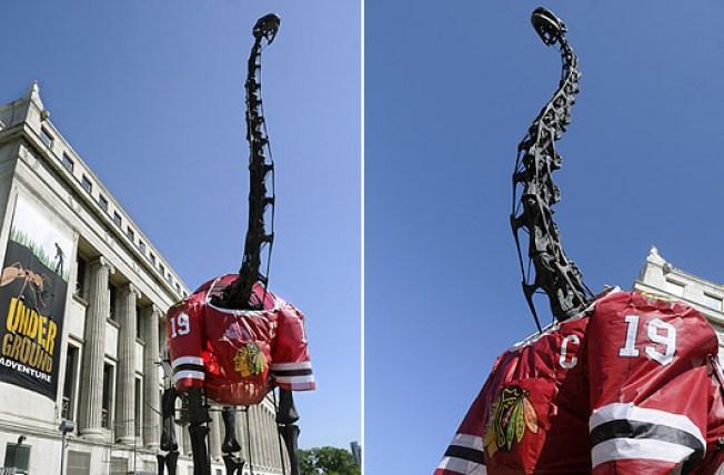 Field Museum Dino Sports Giant Blackhawks Jersey