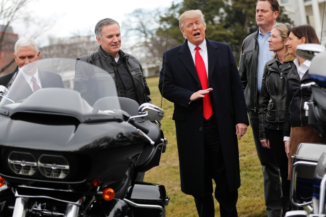 Harley-Davidson Workers Ride Into Washington to Meet Trump