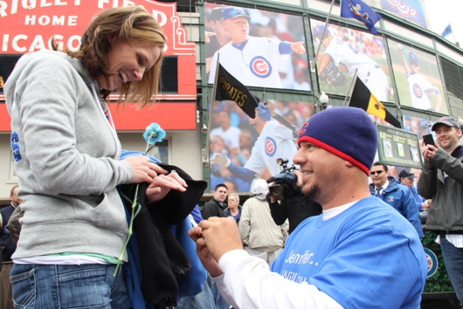 Man Pops the Question on Opening Day