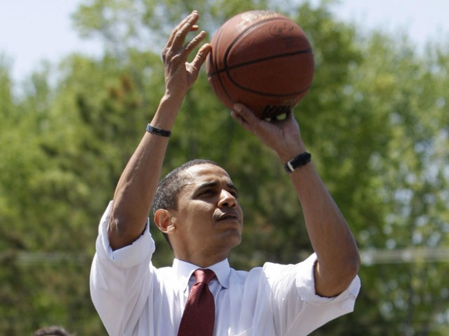 Obama Hoops It Up, NBA Style