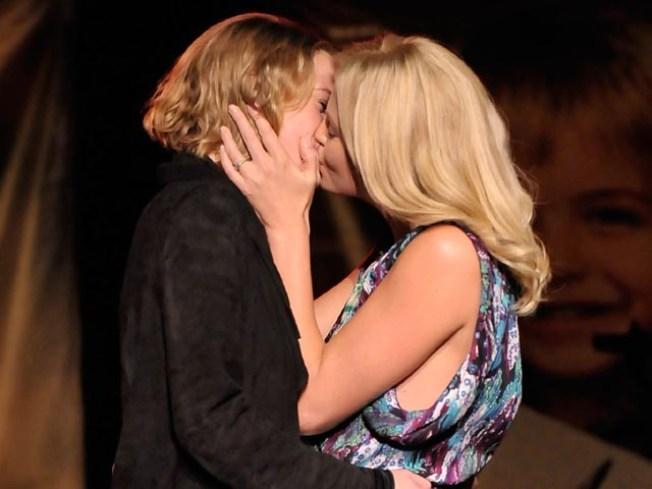 Charitable Charlize Theron Kisses Woman for $140,000