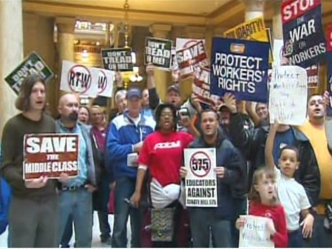 Union Protests Continue in Indiana