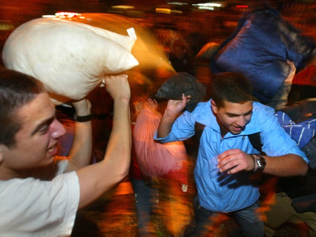 Feathers Fly in Chicago Pillow Fight