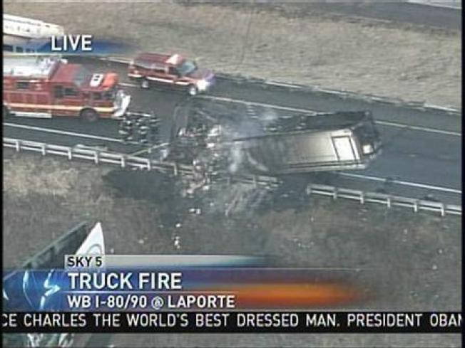 Big Rig Fire Shuts Down Indiana Tollway