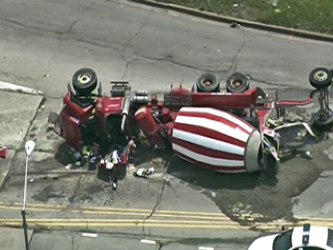 Driver Killed When Cement Truck Flips on Bishop Ford