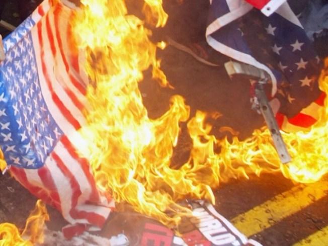 Suburban Cops Arrest Flag Burner