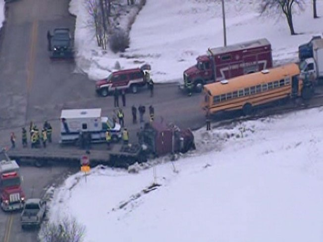 School Bus Collides With Semi