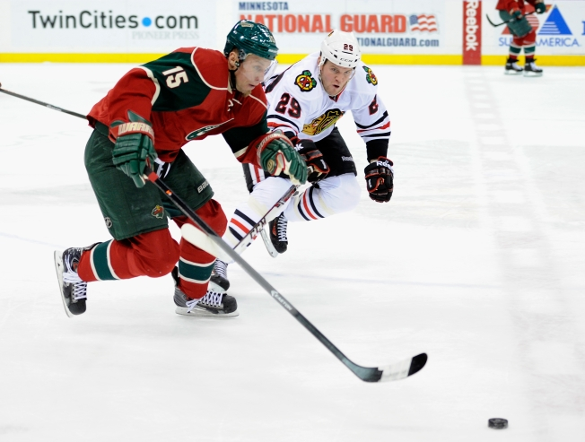 Bickell Scores Twice as Blackhawks Tame Wild