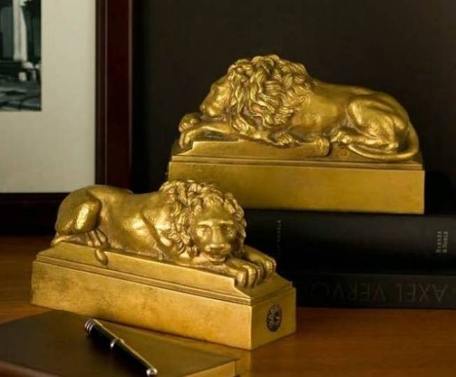 Gilded Resting Lion Bookends