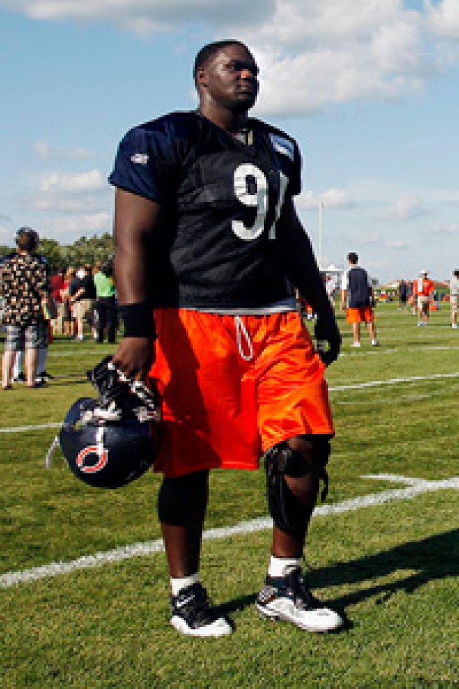 Bears Training Camp Day 11:  Tommie Harris practices and fireworks light up the sky