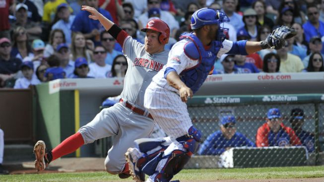 Bailey and Reds Win Again at Wrigley, 8-2