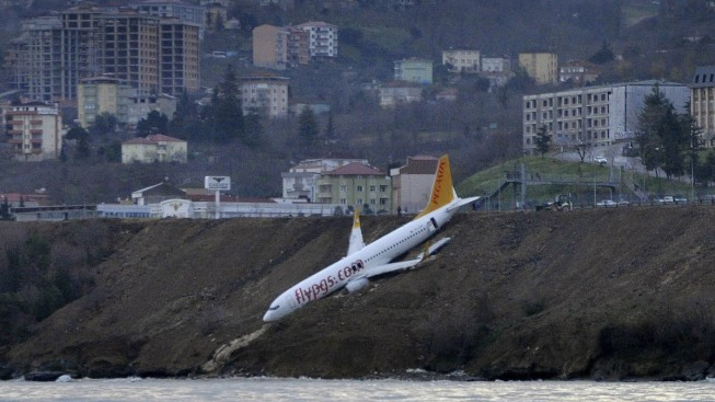 Plane Dangles off Cliff After Skidding off Runway in Turkey