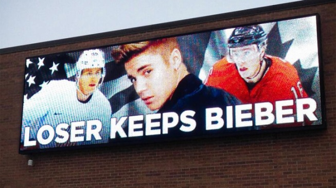 """Loser Keeps Bieber"" Billboard Appears for USA-Canada"