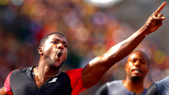 Gatlin Beats Gay and Wins 100 at Olympic Trials