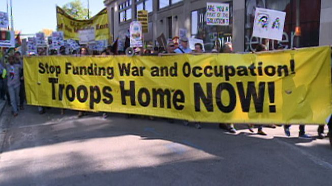 Protestors Mark 10th Year of Afghan War