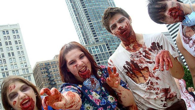 Zombies, Nude Cyclists Flash Mob Chicago