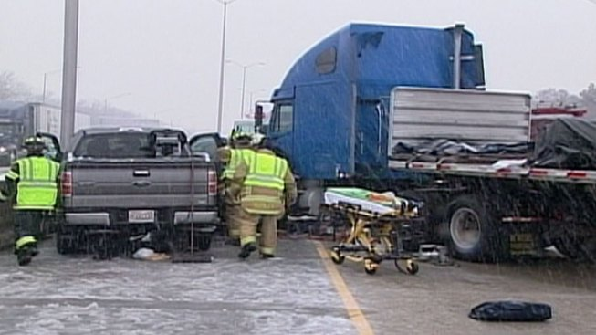 Four Cars, Semi Crash During Snowfall