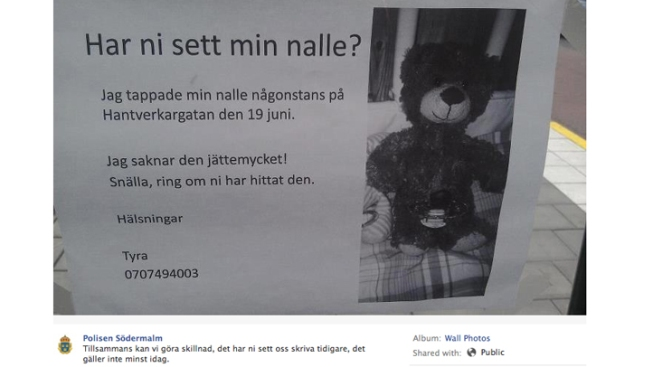 Stockholm Police Help Girl Find Lost Teddy Bear