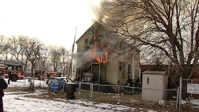 Flames Shoot Out of South Side Home