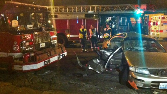 Car, Fire Truck Crash Injures Nine