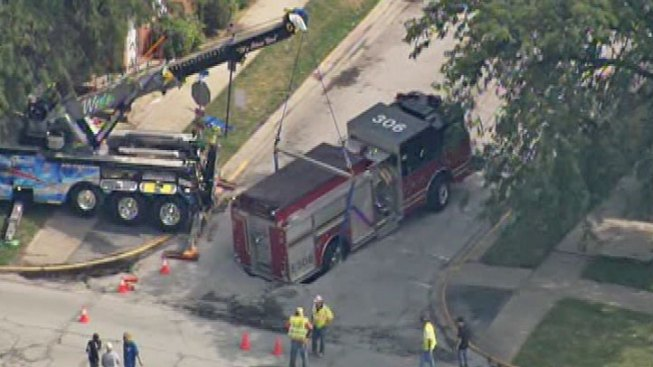 Calumet Fire Truck Caught in Sinkhole