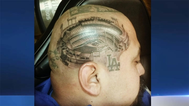 Fan Gets Detailed Dodger Stadium Tattoo on His Head