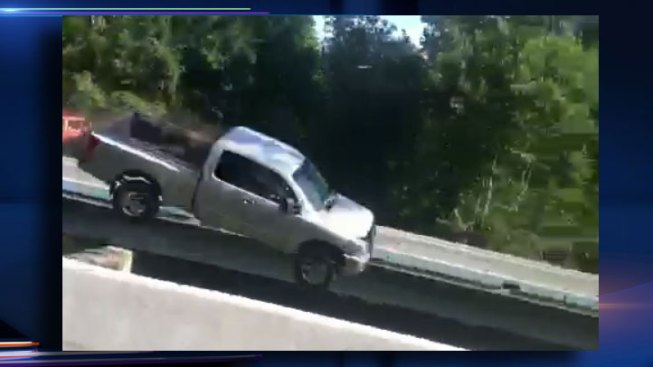 Video Shows Truck Flying Off Highway