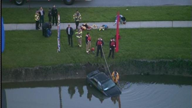 An abandoned car was found in a pond in northwest suburban Roselle.