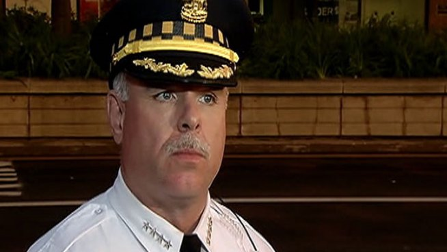 Police Supt. Garry McCarthy becomes emotional when talking about how his officers dealt with a big clash with protesters near Michigan and Cermak earlier in the day.