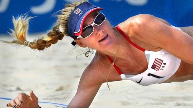 Beach volleyball player Kerri Walsh has won golds twice. Now she goes for her third.