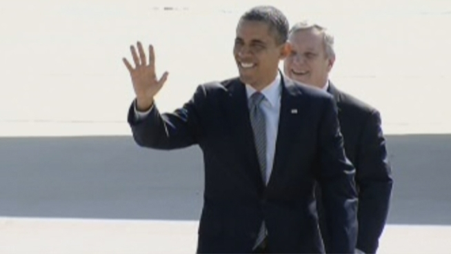 Air Force One touches down at O'Hare Airport, marking the President Obama's return to Chicago. He is only in town for a day trip and will be leaving tonight.
