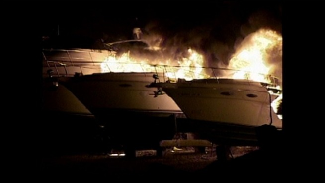 17 boats at a marina in North Central Illinois were destroyed by fire early Thursday.