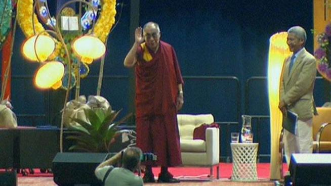 The Dalai Lama speaks to thousands gathered at the UIC Pavillion in Chicago.