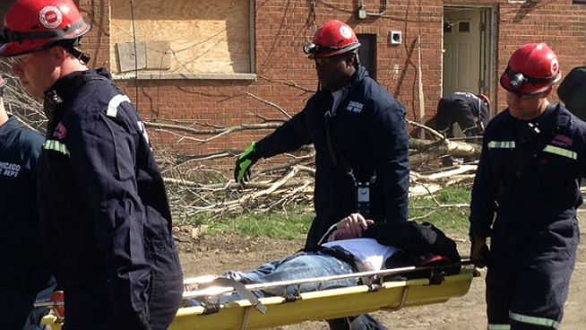 A frightening scene in the Englewood neighborhood with buildings collapsed and mock victims on the ground was all part of a disaster drill aimed at keeping residents safe during severe weather. Anthony Ponce reports.