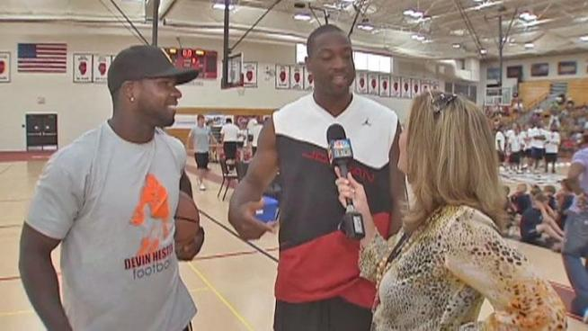 Chicago Bear Devin Hester and Miami Heat Dwyane Wade are hosting summer camps at Lincoln-Way Central High School in New Lenox.
