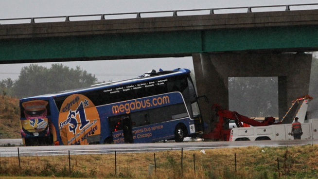 Chopper Above Megabus Crash