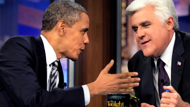 Jay Leno discusses his approach to political humor ahead of President Barack Obama's appearance on Wednesday's