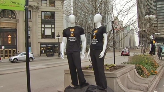 In a silent but striking reminder, 32 mannequins representing 32 pedestrian fatalities adorn Wacker Drive from Michigan to Wells.