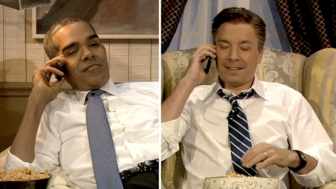 Jimmy Fallon's Obama, Romney Watch the VP Debate Together