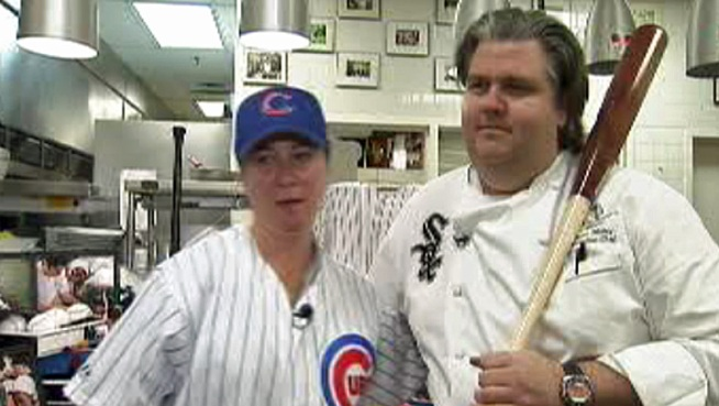 Two famous Chicago chefs are crosstown rivals when it comes to baseball, but they're joining forces in the kitchen to benefit charity.