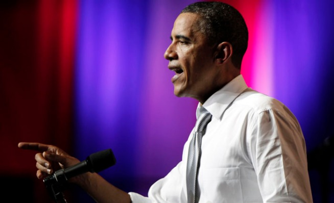 President Barack Obama addresses supporters during a combo birthday bash/campaign fundraiser at Uptown's Aragon Ballroom.